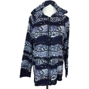 Miss Nikky Blue Abstract Zip Up Hoodie Sweater M